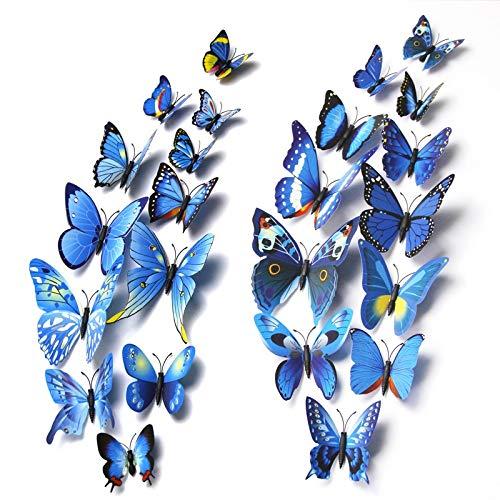 Yeyubh Pared de la Mariposa Pegatinas decoración del hogar Multicolor de Doble Capa 3D Butterfly Pegatinas Negro Adhesivo (Color : 1 Layer 6cm Red)