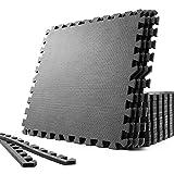 SOLPEX トレーニング ジョイントマット エクササイズマット 防音 衝撃吸収マット ホームジム 大判ジムマット 60cm×60cm×1.2cm 24枚 キズ防止 高硬度 振動吸収 床保護 抗菌 トレーニング器具用マット サイドパーツ付