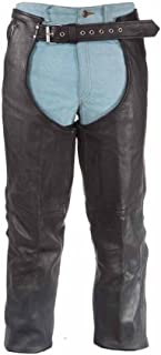 3 Pocket Split Leather Cowhide Motorcycle Chaps with Zipper Pocket