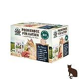 Wildes Land | Nassfutter für Katzen | Mix | Bio | 6 x 200 g | Aus kontrolliertem biologischen Anbau | Getreidefrei | Extra viel Fleisch | Beste Akzeptanz und Verträglichkeit
