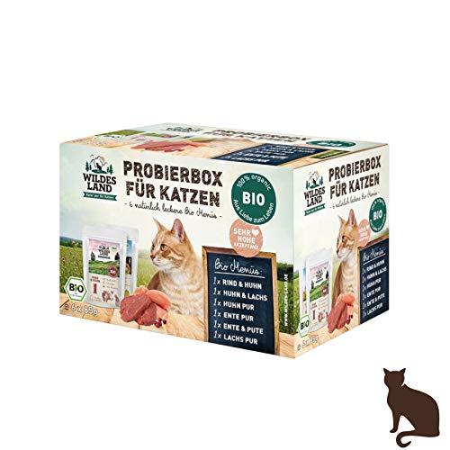Wildes Land - Nassfutter für Katzen - Mix - Bio - 6 x 200 g - Aus kontrolliertem biologischen Anbau - Getreidefrei - Extra viel Fleisch - Beste Akzeptanz und Verträglichkeit