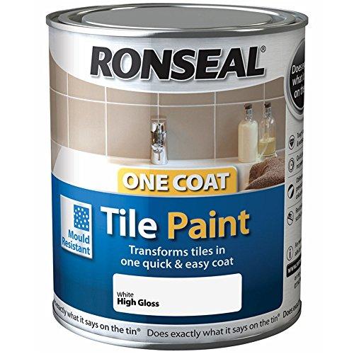 Ronseal One Coat Tile Paint Brilliant White Gloss 750ml