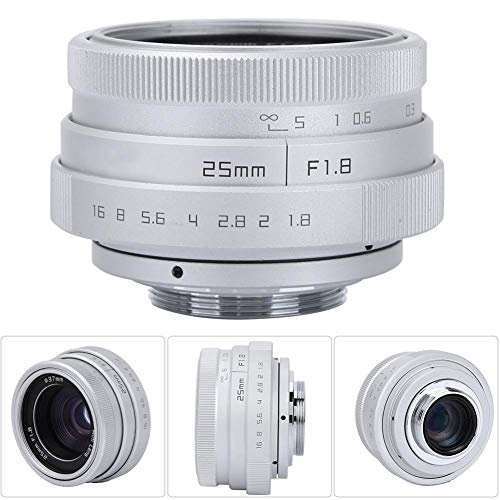 Bewinner Lente Gran Angular, 25 mm F1.8 Mini CCTV C Montura Profesional HD Lente Gran Angular para Bares/Tiendas/estacionamientos/Casas/almacenes, Lentes de cámara para videocámara(Plata)