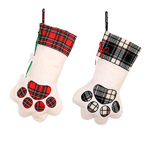MAJITA Christmas Stockings Red Pet Dog Claw 2 Pack Ersonalized Holiday Large Size 17 inches Christmas Party Fireplace Decoration,Kids Gift Bags,Christmas Tree Ornaments Home Decoration