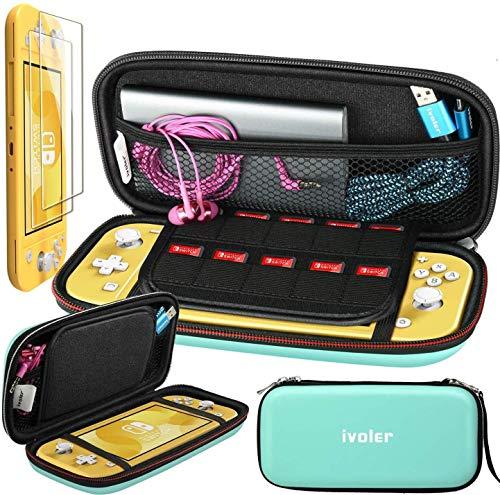 iVoler Funda con Protector pantalla para Nintendo Switch Lite,Dura Viaje Case Estuche Delgado y Duradero Más Espacio de Almacenamiento Bolsa con 10 Ranuras para Accesorios de Nintendo Switch Lite-Azul
