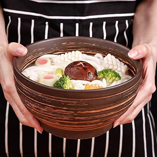 JUNYYANG Inicio vajilla Antiguo pintoresco Recipiente de Barro Tierra Cuenco de cerámica tazón de Sopa de Fideos tazón tazón de Sopa tazón Creativa de 7 Pulgadas
