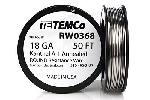 TEMCo Kanthal A1 wire 18 Gauge 50 Ft Resistance AWG