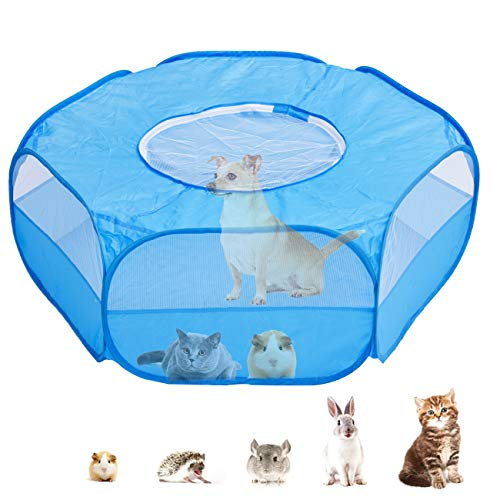 Small Animal Cage Playpen, Pet Playpen with Top Cover Anti Escape Foldable Breathable Transparent Yard Fence for Dog Cat Bunny Puppy Rabbits Guinea Pig Hamster Chinchillas (Blue)