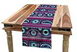 Ambesonne Ikat Table Runner, Ethnic Tribal Ornamental Artwork Flowers and Zigzag Designs Print, Dining Room Kitchen Rectangular Runner, 16' X 72', Marigold Turquoise and Indigo