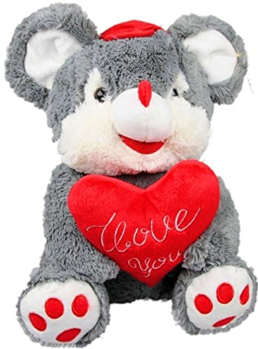 Inware 6936 - Peluche Souris avec le coeur et le casquette, 30 cm