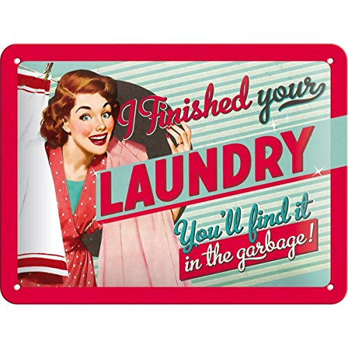 Nostalgic-Art 26102 Say it 50's - Finished Your Laundry, metalen bord 15x20 cm