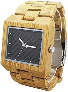 Rectangled Wooden Watch Natural Bamboo Watches Handmade Casual Wristwatch 8018 [並行輸入品]