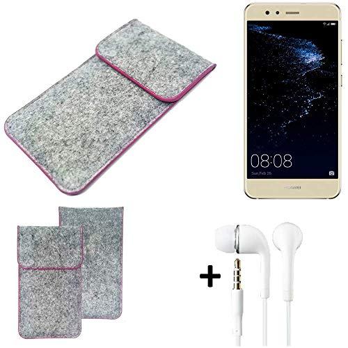 K-S-Trade Filz Schutz Hülle Für Huawei P10 Lite Dual-SIM Schutzhülle Filztasche Pouch Tasche Hülle Sleeve Handyhülle Filzhülle Hellgrau Pinker Rand + Kopfhörer