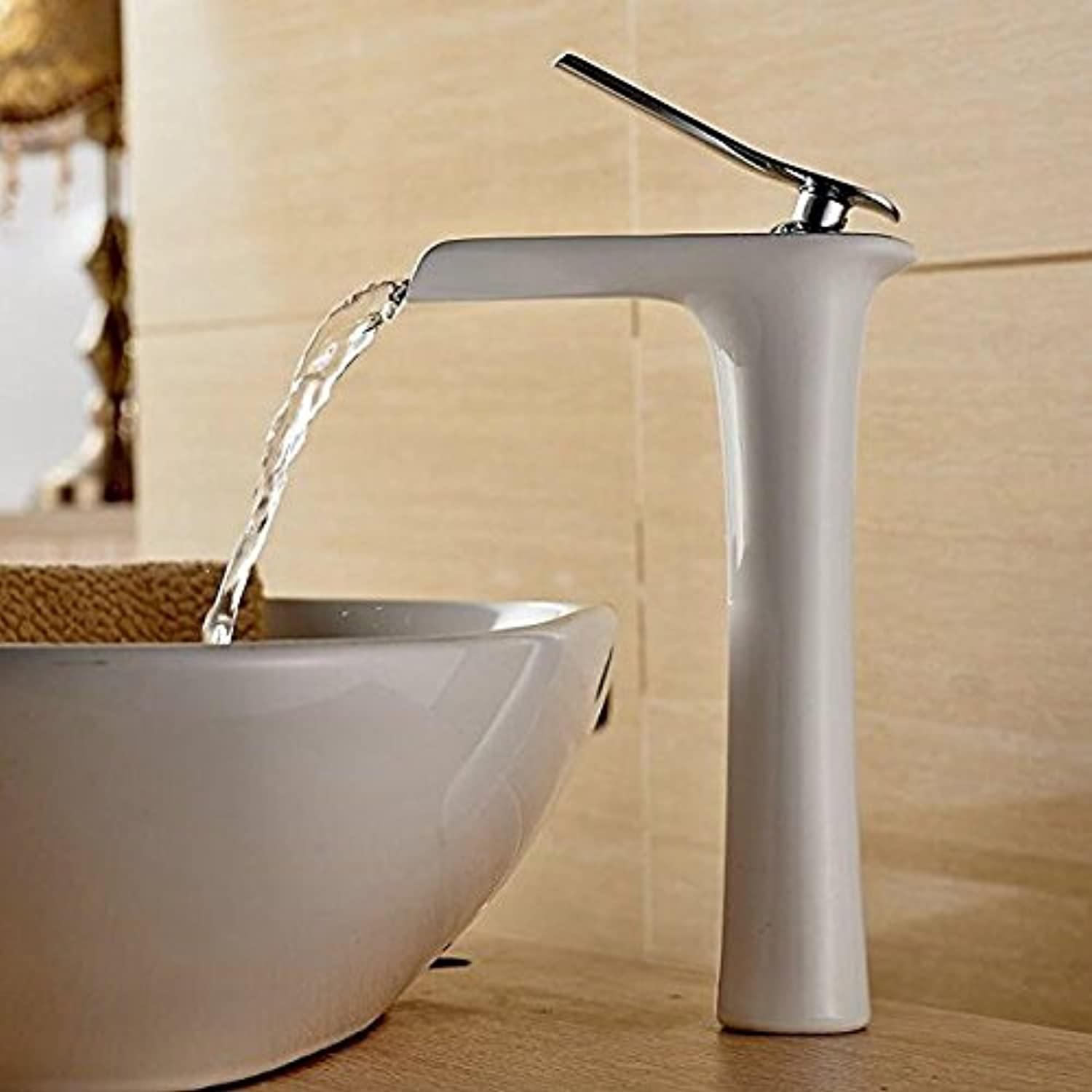 Makej Modern Basin Mixer Tap Single Handle Waterfall Spout Tall Bathroom Sink Tap Polished Chrome Finish White Painting