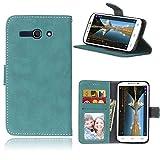 Sangrl Libro Funda para Alcatel One Touch Pop C9 / 7047A / 7047D, PU Cuero Cover Flip Soporte Case [Función de Soporte] [Tarjeta Ranuras] Cuero Sintética Wallet Flip Case Azul