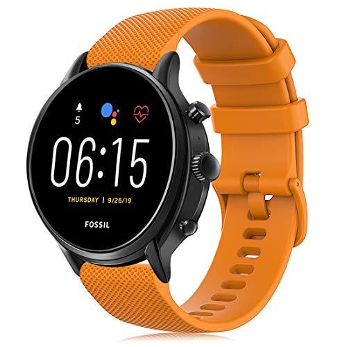 RIOROO Correa Compatible para Garmin Vivoactive 4,Correa Compatible para Fossil Smartwatch Gen 5 / 4 para Hombre Strap 22mm, Amarillo Sport Silicona Repuesto Pulsera, Accesorios (sin Reloj)