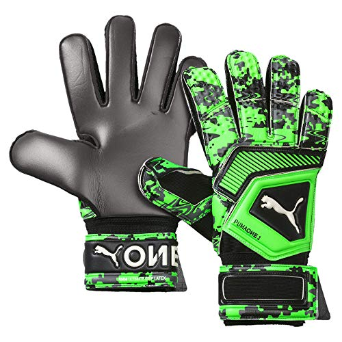 Puma One Grip 1 RC, Guante de Portero, Puma Black-Charcoal Gray-Green Gecko, Talla 11