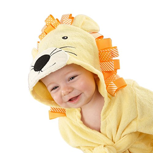 Minuya - Albornoz unisex con capucha, en algodón, para bebés y niños de 0 a 6años, ideal como regalo León 2- 4 Años