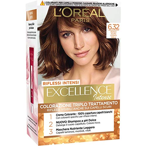 L'Oréal Paris Tinta Capelli Excellence Intense, 6.32 Biondo Scuro Dorato Perla
