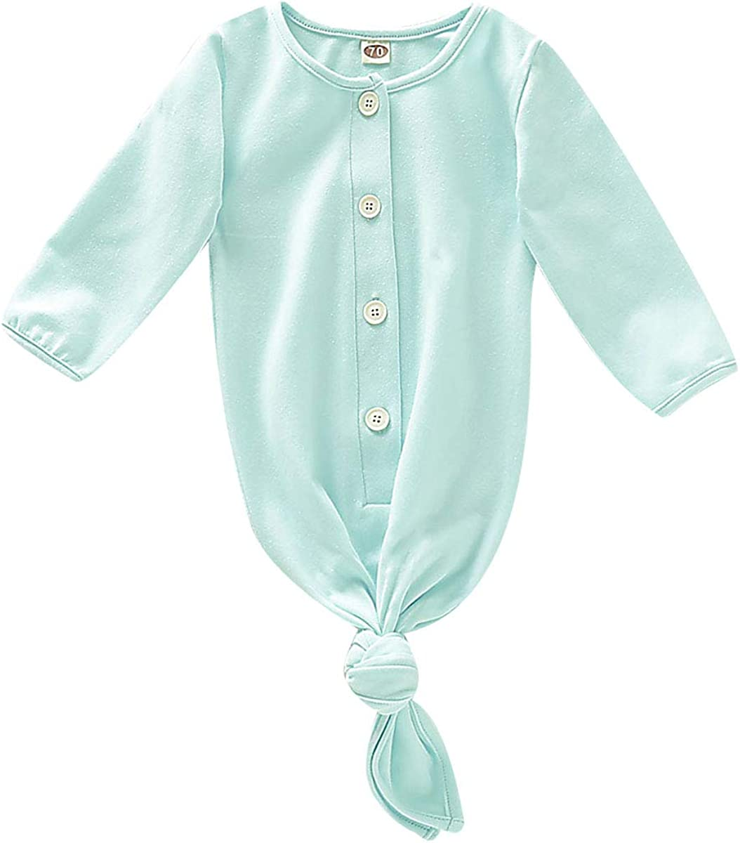 Unisex Newborn Baby Gown and Hat Cotton Nightgown Knotted Baby Sleeping Bag Pajamas Baby Girl Boy Sleepy Romper