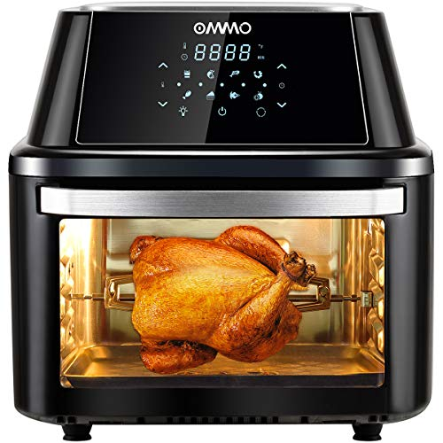 OMMO Air Fryer Oven 17Qt, for Air Frying, Roasting, Reheating, Baking& Dehydrating, 8 Presets 1800W Air Fryer Countertop Oven, with Complete Set of Dishwasher Safe Accessories, Recipes Included