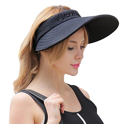 CACUSS Women's Summer Sun Hat Large Brim Visor Adjustable Magic Tape Packable UPF 50+(Pink)