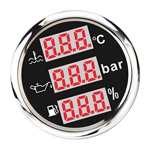 U/D LCZCZL Temperatura de Combustible Medidores multifunción Agua de Marina del Nivel de Aceite Combustible Indicador de presión de 52 mm / 2 '' (Color : Negro, Size : Gratis)