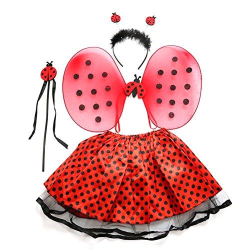 BESTOYARD Marienkäfer Kostüm Lady Bird Kostüme mit Stirnband Zauberstab Tutu Rock Set Winkel Mädchen Fairy Dress Outfit 4pcs