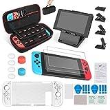 Le kit d'accessoires Keten 13 in 1 Nintendo Switch comprend Nintendo Switch Carrying Case / Nintendo Switch Housse / Protecteur d'écran réglable / HD (2 paquets)