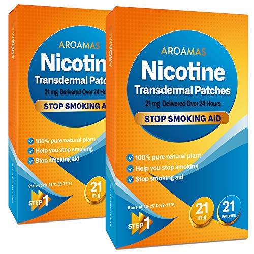 Aroamas Nicotine Patches to Quit Smoking - Step 1[2 Pack], Nicotine Transdermal Patches Step 1 [21 mg - 2 Pack, 42 Patches]