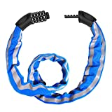 FISHOAKY Bike Lock Combination 5 Digit, Cycle Lock, Security Bicycle Chain Lock Heavy Duty Reflective Strips/Anti-Theft Cable, Universal for Kids & Adults Bike Motorcycles Gates Fences, 1M