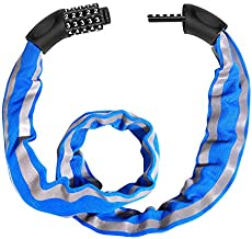 Bike Lock Combination 5 Digit, Cycle Lock, FishOaky Security Bicycle Chain Lock Heavy Duty Reflective Strips / Anti-Theft Cable, Universal for Kids & Adults Bike Motorcycles Gates Fences, 1M