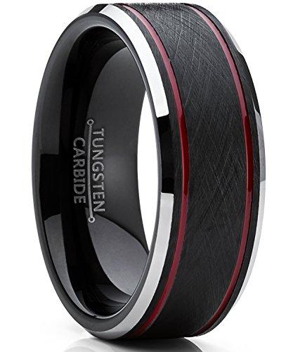Ultimate Metals Co. Herren schwarz und rot wolframcarbid verlobungsring mit gebürstet Center. 8mm Bequemlichkeit Passen Größe 63