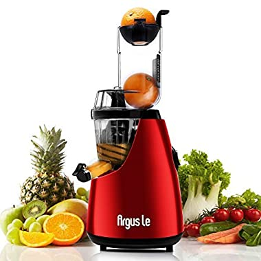 Argus Le 3  Big Mouth Whole Slow Masticating Juicer with Quiet Motor, Low Speed Cold Press Juice Extractor, 75mm Wide Chute Easy Cleaning Vertical Juicer Machine for High Nutrient Fruit and Veggies