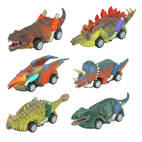 DIDUBUY Dinosaur Toys for 2 3 4 5 6 Year Old Boys, 6-Pack Realistic Dinosaur Toys Car for Kids 3-5, Stocking Stuffers for Kids, Christmas Easter Birthday Gifts Party Favors Prizes for Boys Girls 3-10