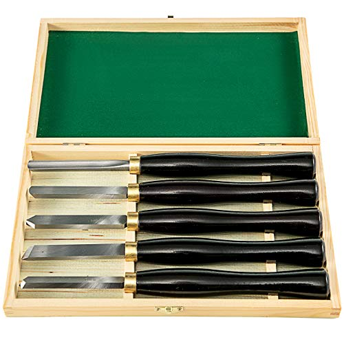 VEVOR Herramientas de Torno Madera HSS 5 Piezas para Tornear Madera Gubias para Tallar Madera Negro Utilizado en Carpintería Tallado en Madera Tallado de Raíces Tallado de Muebles Torno Etc.