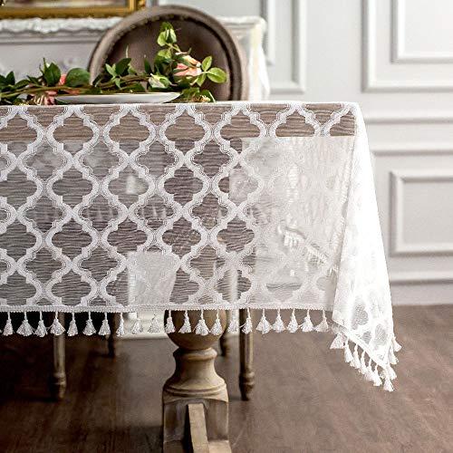 ARTABLE Weiße Jacquard Stoff Tischdecke rustikalen Stil weißen Fransen Kopf Dekoration geeignet für Hochzeit Bankett Gartendekoration Tischdecke (Weiß, 140 x 220 cm)