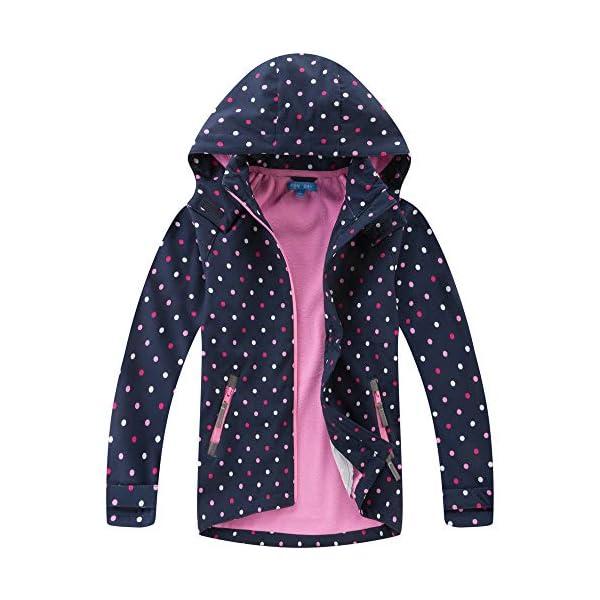MGEOY Girls Hooded Rain Jacket-Kids Fall Fleece Raincoat Winter Waterproof Zip Up Hoodies for Girl 3-14Y