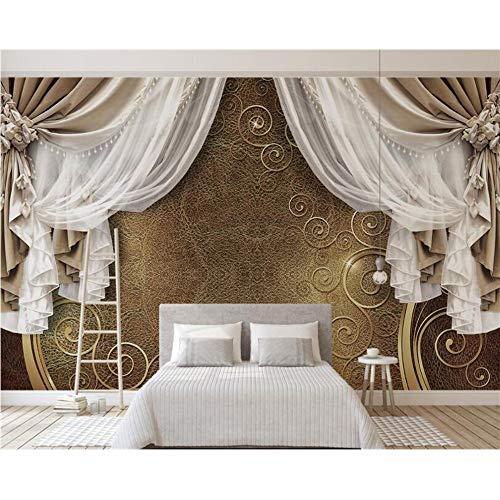 Shuangklei hoge kwaliteit zijde doek 3D behang muurschildering 3D Europese stijl gordijn Kant Tv achtergrond muur behang voor muren 3 D 350x250cm