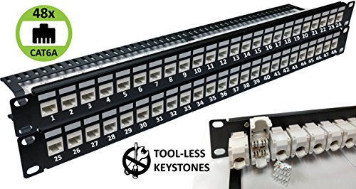 48-Port CAT6A Unshielded 2U Patch Panel 19-Inch Loaded w/Tool-less Keystone Jacks Rackmount or Wallmount