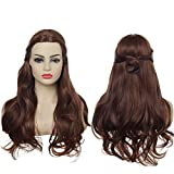 SARLA Girls Brown Wig Long Curly Wavy Hair Wigs with Bun 22 Inches Synthetic Heat Friendly Fiber Belle Princess Costume for Cosplay Party Halloween (Belle for Kids)