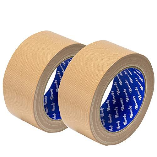ストリックスデザイン 日本製 布粘着テープ 2個セット 黄土 25m巻 幅5cm 梱包用 ガムテープ 手で切れる 文字が書ける