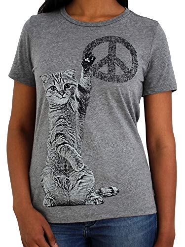 Peace Cat, Cute Kitty with Peace Sign | Soft & Comfortable Cat T Shirt for Women Cat Mom Cat Lady(Large)