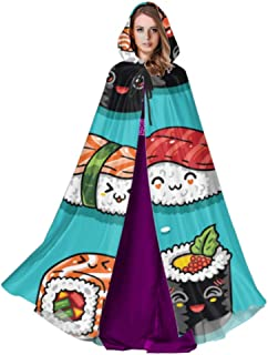 Japanese Delicious Sushi Food Hood Cloak Women Adult Cape Cloak 59inch For Christmas Halloween Cosplay Disfraces