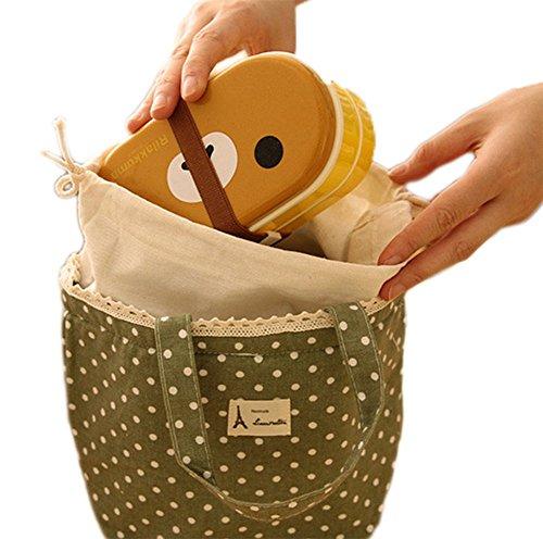 Fablcrew Sac Repas Lunch Bag en Coton et Lin Sac à Déjeuner Portable Isotherme étanche et Réutilisable pour Repas Pique-Nique Bureau (Vert)