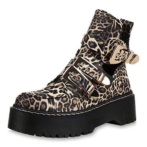 SCARPE VITA Damen Stiefeletten Plateau Boots Cut Out Ankle Booties Schnallen 173340 Leopard 39