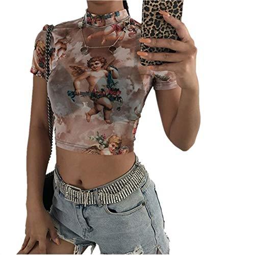 Crop Top Vrouwen met korte mouwen coltrui Mesh Cupido van de Engel Print hemdje Short Top Female Loose Casual Tank T-shirt