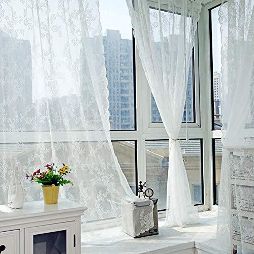Baoer 2 Stück Floral Lace Sheer Vorhänge, bestickte Spitze Fenster Vorhang Gaze Gestrickt Jacquard Vorhang Vorhänge für Schlafzimmer Wohnzimmer Stangentasche Retro Stil Vintage
