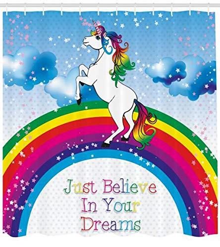 ABAKUHAUS Kids Duschvorhang, Einhorn Regenbogen-Fantasie, Waserdichter Stoff mit 12 Haken Set Dekorativer Farbfest Bakterie Resistet, 175 x 200 cm, Multicolor