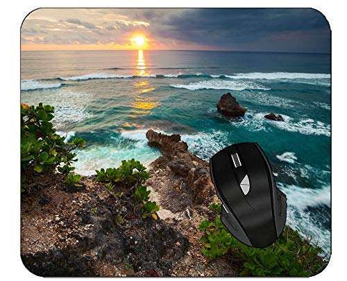 Office Mouse Pad Rocks Sunset Coast Ocean Computer Desk Mat